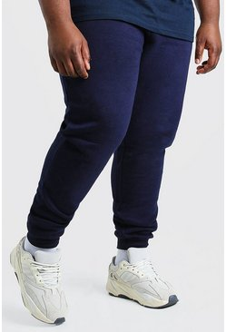 Big And Tall Schlichte Skinny Fit Jogginghosen, Marineblau