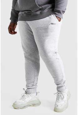 Jogging coupe slim MAN Script Big And Tall, Gris chiné