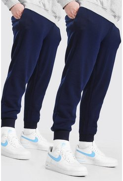 2er-Pack Plus Size Basic Skinny-Fit Jogginghosen, Marineblau