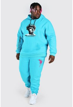Turquoise Plus Size Statue Graphic Tracksuit