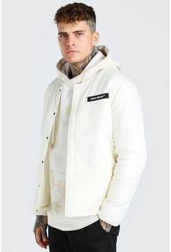 Off white Collarless Coach Jacket With MAN Rubber Badge