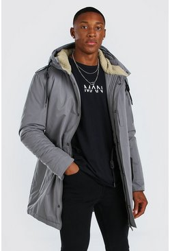 Grey Parka Coat With Borg Lined Hood