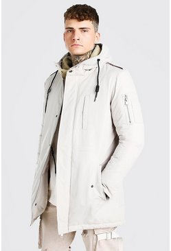 Stone Parka Coat With Borg Lined Hood