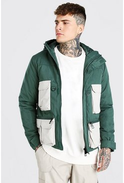 Forest Multi Pocket Tech Colour Block Parka