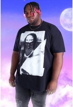 Black Big And Tall Spliced Mona Lisa Print T-Shirt
