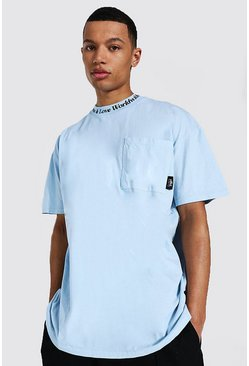 Blue Tall Oversized High Neck Washed T-shirt
