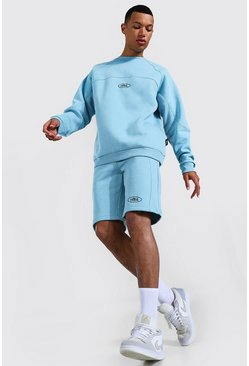 Blue Tall Oversized Raglan Sweater Short Tracksuit