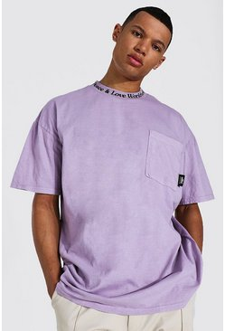 Mauve Tall Oversized High Neck Washed T-shirt