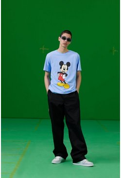 Blue Disney Mickey Print T-Shirt