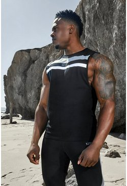 Black Man Active Colour Block Panel Vest