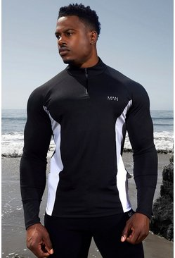 Black Man Active Raglan Side Block ¼ Zip Top