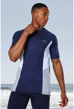 Navy Man Active Raglan Side Block T-shirt