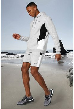 Grey marl Man Active Side Block Hoodie And Short Set