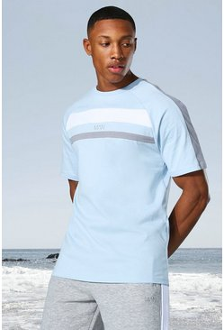 Pale blue Man Active Colour Block Panel T-shirt