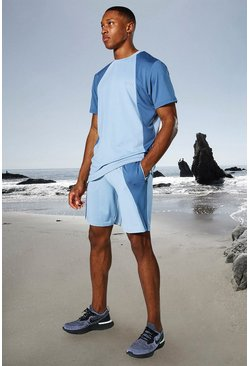 Dusty blue Man Active Tonal Colour Block Tee And Shorts