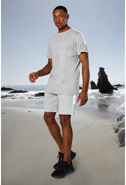 Grey marl Man Active Side Stripe T Shirt And Short Set