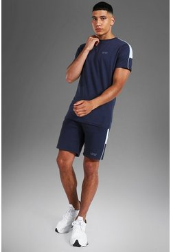 Navy Man Active Side Stripe T Shirt And Short Set