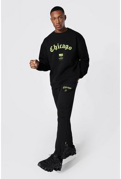 Black Oversized Chicago Print Sweater Tracksuit