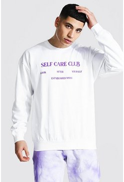 White Oversized Self Care Club Sweatshirt