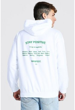 White Oversized Stay Positive Back Print Hoodie