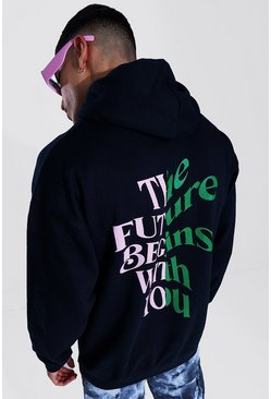 Sweat à capuche oversize The Future's With You, Black
