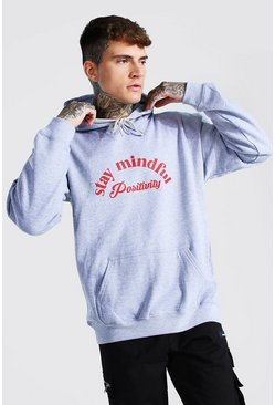 Grey marl Oversized Stay Mindful Hoodie