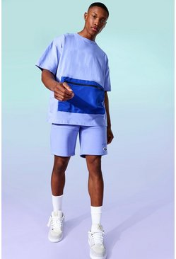 Cobalt Nylon Contrast Zip Jersey Tee And Short Set