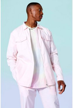 Pink Twill Relaxed Overshirt And Trousers