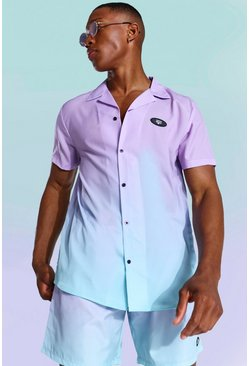 Short Sleeve Ombre Revere Shirt, Lilac
