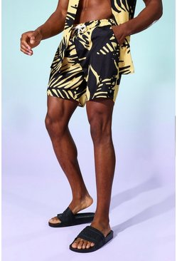 Yellow Palm Mid Length Swim Shorts