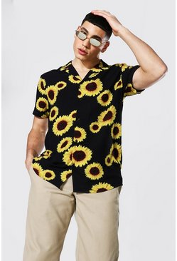 Black Short Sleeve Revere Viscose Sunflower Shirt