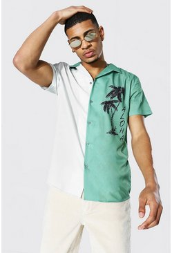 Green Short Sleeve Revere Spliced Aloha Shirt