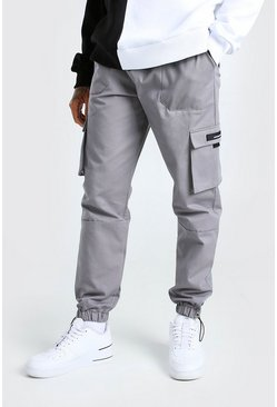 Twill Cargo Trouser With Rubber Tab Detail, Slate
