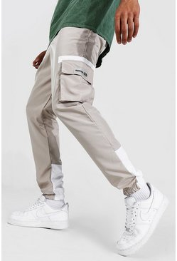 Stone Shell Cargo Rubber Badge Contrast Joggers