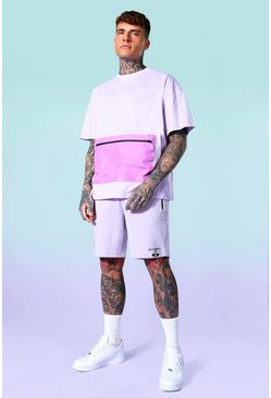 Lilac Nylon Contrast Zip Jersey Tee And Short Set