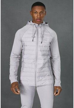 Grey Man Active Quilted Zip Through Hoodie