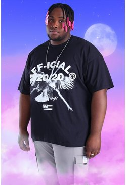 Black Big and Tall Official Iridescent Print T-Shirt