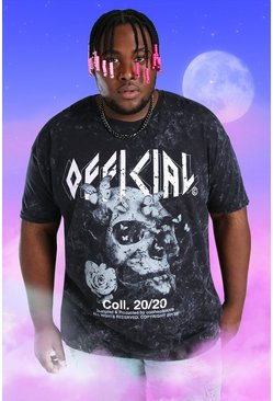 Black Big And Tall Acid Wash Skull Print T-Shirt
