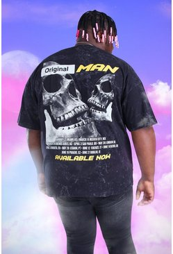Black Big And Tall Acid Wash MAN Print T-Shirt