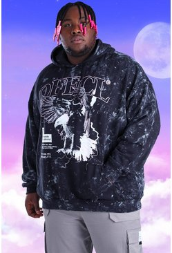 Black Big And Tall Acid Wash Eagle Print Hoodie