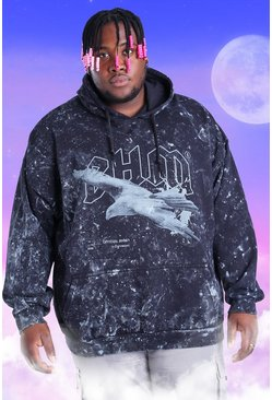 Black Big And Tall Acid Wash BHM Eagle Print Hoodie