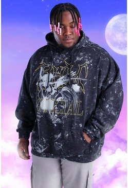 Black Big And Tall Acid Wash Official Print Hoodie