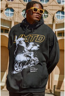 Black Plus Size Limited Motorbike Print Hoodie
