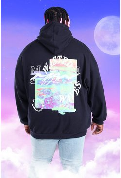 Black Plus Size MAN Heat Map Back Print Hoodie