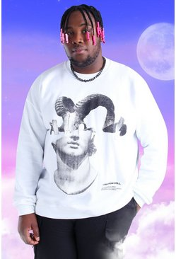 White Big And Tall Spliced Statue Printed Sweatshirt