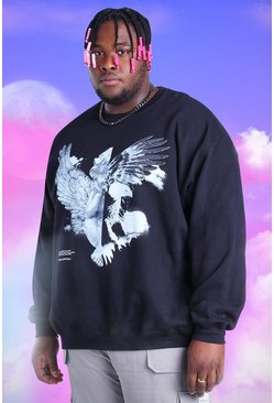 Black Big And Tall Spliced Eagle Printed Sweatshirt