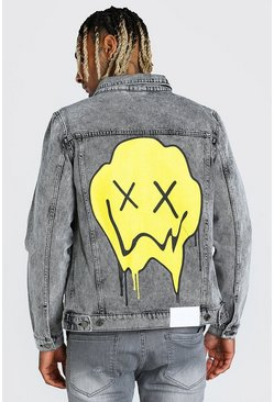 Grey Regular Fit Denim Jacket With Drip Face