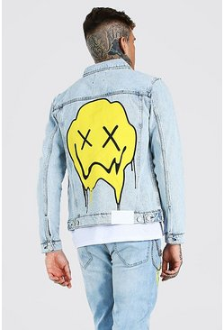Light blue Regular Fit Denim Jacket With Drip Face