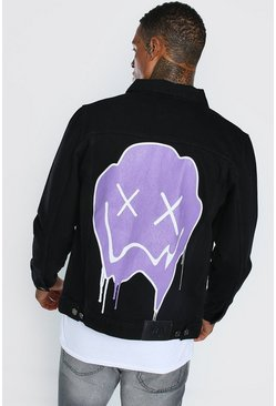 Black Regular Fit Denim Jacket With Drip Face