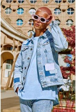 Light blue Regular Fit Patchwork Denim Jacket